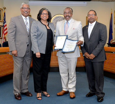 "Pictured (l-r): SU System President-Chancellor Ray Belton, SU Board of Supervisors Chair Ann A. Smith, April 2017 ""Above and Beyond"" Award recipient Major L. Brock, and SU Shreveport Chancellor Rodney Ellis."